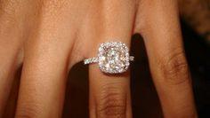 Harry WInston Cushion-cut Micropavé Diamond Engagement Ring