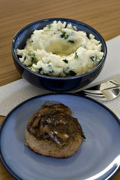 ... creamy mashed potatoes, mixed with scallions or green onions. Usually