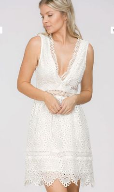 Sexy chic plunging neckline skater dress Plunging Neckline Sleeveless Skater Dress White Lining Center Back Zipper See Through at Waist White Lace Mini Dress, Little White Dresses, White Wedding Dresses, Grad Dresses, Casual Dresses, Short Dresses, Banquet Dresses, Lace Dresses, Mini Dresses