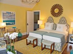 """Yellow can look sunny and cheerful — or glaring and juvenile. So choosing just the right shade is key. Sometimes, that takes a bit of trial and error, says designer Arden Stephenson. """"Yellow is a tricky color to get just right,"""" she says. """"In this sunny Hamptons beach-house bedroom, I mixed several shades of yellow together and kept adding white until I had a color that was happy and warm without being childlike."""" Then, she tempered the yellow walls with contrasting furnishings and…"""