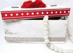 Red and White Christmas Gift Box  Keepsake by PrettyByrdDesigns