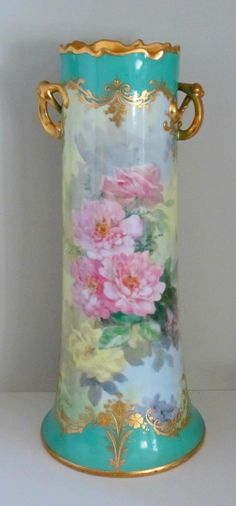 """Dresden H.P. 15"""" Vase with Pink Roses & Heavy Gold- signed """"S. Bach"""""""
