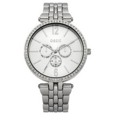 Oasis - Ladies Stainless Steel Stone Set Bezel Watch - B1512 - Online Price: £45.00