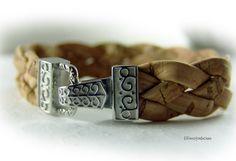 Wrap bracelet leather bracelet women grey silver by elfenstuebchen