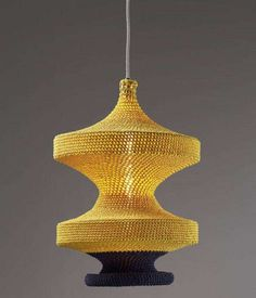 Intricate crotched and knitted pendant lamps from Naomi Paul