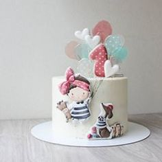 Cute Cakes, Pretty Cakes, Baby Birthday Cakes, Dream Cake, Cake Toppings, Girl Cakes, Buttercream Cake, Cake Creations, Celebration Cakes