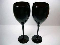 Vintage Black Water Goblets  Elite Black Crystal by Kisses4Lucy