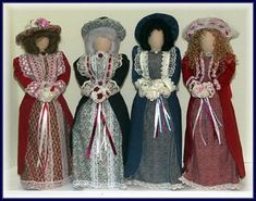 Victorian Dolls, Victorian Traditions, The Victorian Era, and Me: How Can You Not Love A Quartet Of Flossie's? - Victorian Lady Dolls