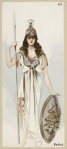 """Pallas (1890), costume design by Charles Bianchini (1860-1905), for """"Ascanio"""" (1888), by Camille Saint-Saëns (1835-1921)."""