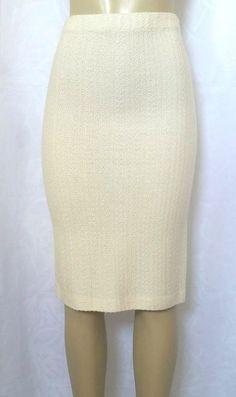 3144f862cd St John Collection Textured Knit Pencil Skirt Straight Ivory Vanilla White  S P 2