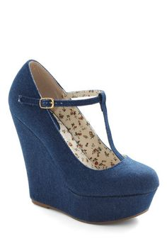 Damn, if I was skinny with stronger knees I would be all over these. By All Jeans Wedge, #ModCloth