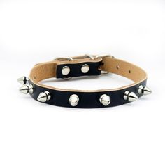 Namsan Puppy Dog cat Doggie Cats One Row Spiked Leather Collars Necklaces (black,brown,pink,red) and(XS ,Small, Medium, Large) * Remarkable product available now. : Cat Collar, Harness and Leash