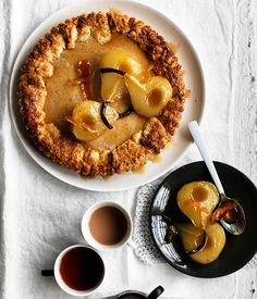 Australian Gourmet Traveller recipe for ricotta maple tart with roast pears.