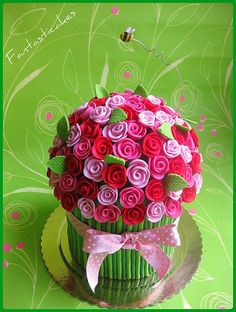 Giant cupcake decorated like a posy of flowers