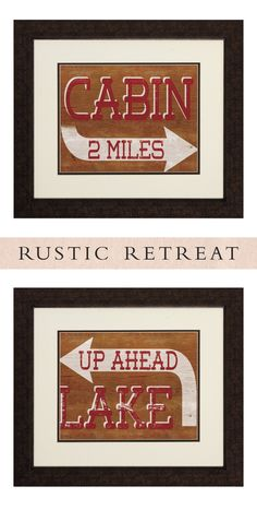 Adding a bit of charm to your home, this set of two Cabin Lake sign-inspired artwork pieces will add a fun element to any room.