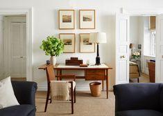 desk in living room of gramercy park home