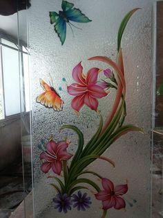 Wooden Glass Door, Pooja Room Door Design, Glass Painting Designs, Glass Etching Designs, Glass Painting, Kitchen Glass Doors, Door Glass Design, Window Glass Design, Glass Art Products