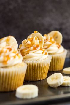 Banana Caramel Cupcakes- Deliciously moist and fluffy banana cupcakes, filled with homemade banana caramel, and topped with a sweet banana caramel frosting!