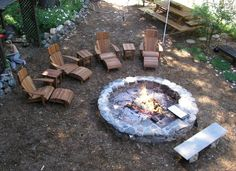 Custom Fire Pits Designed to Cook On Open Pit Cookery Real Wood BBQ Fire pit designs Adirondack Chairs Picnic Tables Diy Fire Pit, Fire Pit Backyard, Fire Pit Grill, Large Backyard, Backyard Games, Landscaping With Rocks, Backyard Landscaping, Backyard Seating, Landscaping Ideas