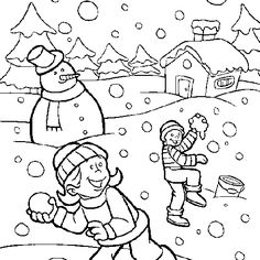 Snowy Day Coloring Page Worksheets Activities and Color activities