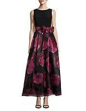 Floral Organza Fit-and-Flare Dress