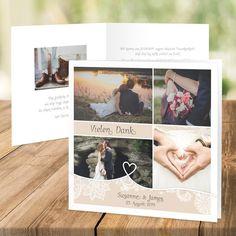 """Dankeskarte Hochzeit """"Tatsächlich Liebe"""" in Creme"""