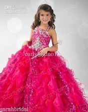 Princess Spaghetti Sequins Shiny Princess Ball Gown Flower Girl  Pageant Dresses