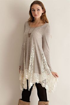 Sand Lace Tunic - Anchored Hope Boutique  - 1