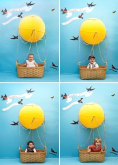 Hot Air Balloon Photo Booth {children's party}, use basket for birthday cards