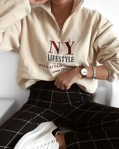 Women's Casual Round Neck Long Sleeve Pure Color Sweatshirt P. - Women's Casual Round Neck Long Sleeve Pure Color Sweatshirt Product number - Mode Outfits, Trendy Outfits, Fall Outfits, Summer Outfits, 90s Style Outfits, Grunge Outfits, Summer Shoes, Insta Outfits, Look Fashion