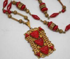 Max Neiger Lipstick Red Glass Art Deco Czech Egyptian Revival Filigree Necklace | eBay