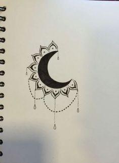 Drawing moon tattoo design 21 New ideas Moon Drawing, Doodle Art Drawing, Pencil Art Drawings, Cool Art Drawings, Art Drawings Sketches, Tattoo Drawings, Cute Drawings Tumblr, Easy Mandala Drawing, Drawing Pin