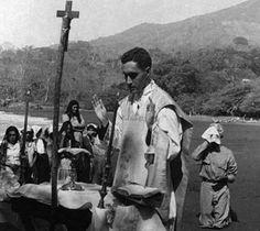 Archbishop Oscar Romero of El Salvador, as a young priest, offering campesino Mass.