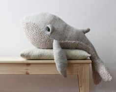 The small Grandpa Whale, an old and kind spirit, looking for a warm home... Made from Quilted Cotton (top) and Acrylic faux fur (bottom). Stuffed with