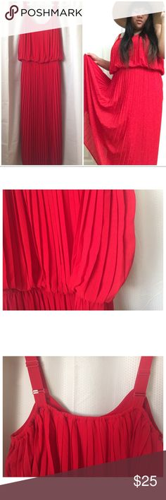 """AMERICAN RAG DRESS 💃🏼💃🏽💃🏾Wear this as a casual dress or a gown for any event!!!  Pleated Red Maxi Dress/Gown. Gorgeous pleating as photographed. Nice thick adjustable straps.  Details:  Size: labeled as a 2xl [ I am a 40D bust and 5'3"""" tall and a few inches of the dress hit the floor---when I wear 4"""" heels you can see my toes. **NOTE:Straps are adjustable so that may change length!!!]  100% Polyester-Machine Wash Cold.  LIKE NEW! In beautiful condition!  From animal friendly home BUT…"""