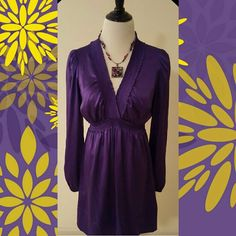 BCBG SILK DRESS Excellent Used Condition  Worn once No snags or stains  Just been dry cleaned ready to sell Vibrant deep purple color Elastic ruffle collar Elastic empire waist  Elastic at the bottom of sleeves 95% Silk 5%   Spandex Dry Clean BCBGMaxAzria Dresses Long Sleeve