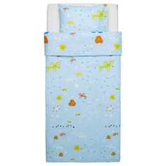 IKEA GETTER Quilt cover and pillowcase Light blue 150x200/50x80 cm Cotton, soft and nice against your child's skin.