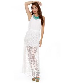 Circle Circle Hot Hot White Lace Maxi Dress   Love this style of dress. Lulus.com
