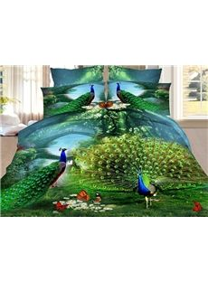 Green Peacock Print 4-Piece Polyester 3D Duvet Cover Sets