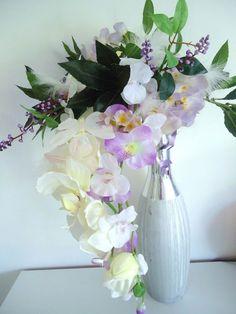 """BOUQUET MARIEE """"ORCHIDEE blanc mauve plume papillon"""" fleur artificielle mariage"""