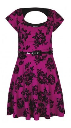Plus Size Flocked Rose Dress - City Chic