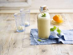 Delicious orange, banana, mint and Alpro Hazelnut Original drink all mixed together, so tasty it was
