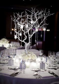Branches with crystals and candles...gorgeous
