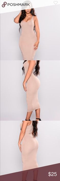 Fashion Nova Fitted Mocha Dress Fashion nova your needs met Dress Color: mocha Lined midi length dress size M  Tags still attached never worn only tried on Fashion Nova Dresses Midi