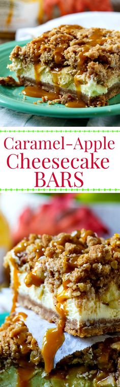 Caramel-Apple Cheesecake Bars make the perfect fall dessert. A buttery crust, creamy cheesecake filling with fresh apple, streusel topping, and caramel drizzle.