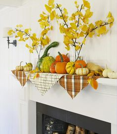 Fall mantel with plaid bandanas