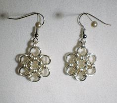 Japanese Flower Chainmaille Earrings