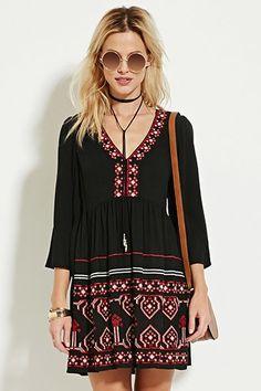 Embroidered V-Neck Peasant Dress | Forever 21 - 2000152994