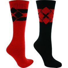 Harley Quinn Women's Red And Black Diamond Logo Women's Socks