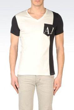 fd604c71 Camiseta Armani Jeans Men's Cotton Color Block T-Shirt Ivory #Camiseta  #Armani Jeans